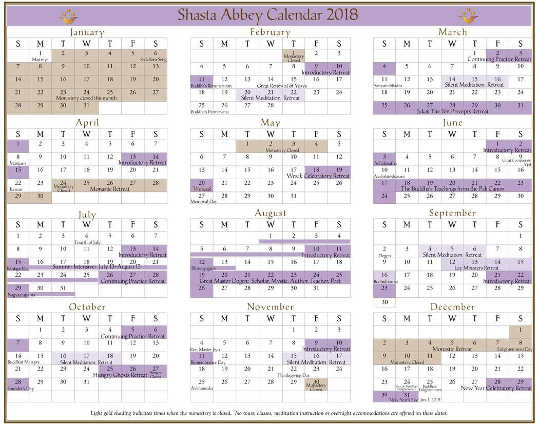 annual calendar 2018    shasta abbey buddhist monastery